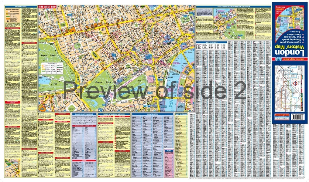 London Visitors Map including a superscale West End map by – London Tourist Information Map