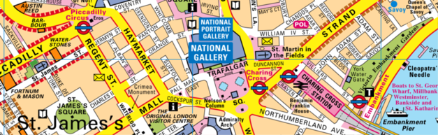 Easy London Map.London Maps By Bensons Mapguides Superbly Clear Maps For Visitors
