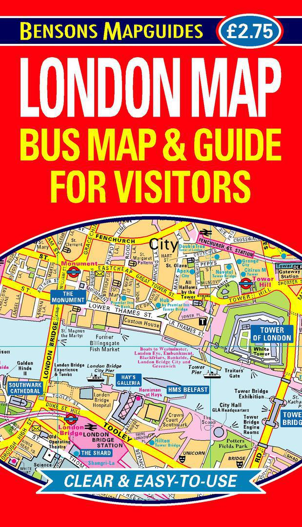 Easy London Map.London Map Bus Map Guide For Visitors By Bensons Mapguides