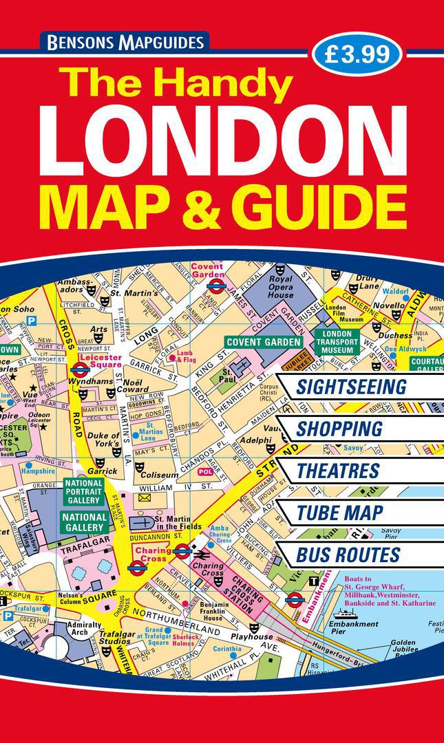 Easy London Map.The Handy London Map Guide By Bensons Mapguides