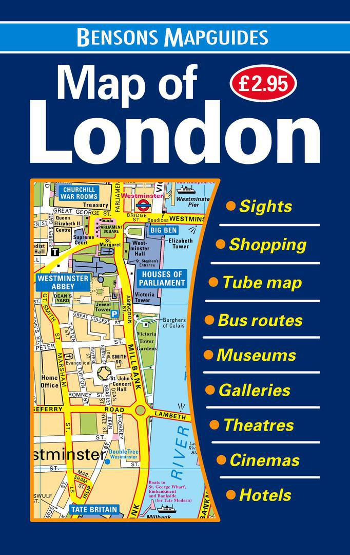 Easy London Map.Map Of London The Easy To Fold Quick Reference Map By Bensons